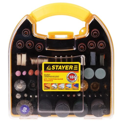 Фото - Набор насадок STAYER 29900-H186 набор насадок для гравера stayer master 186 предметов 29900 h186