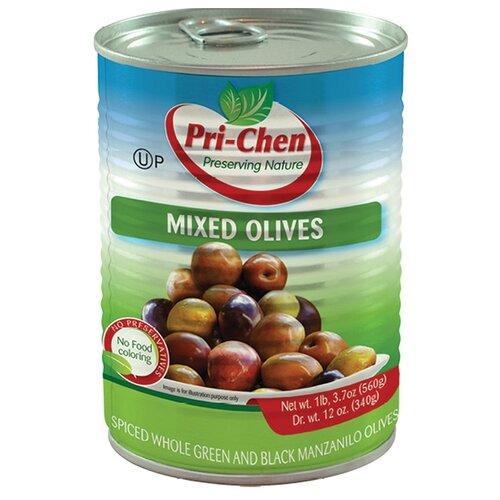 Pri-Chen Микс:оливки и маслины Мансанилья с косточкой, жестяная банка 560 г