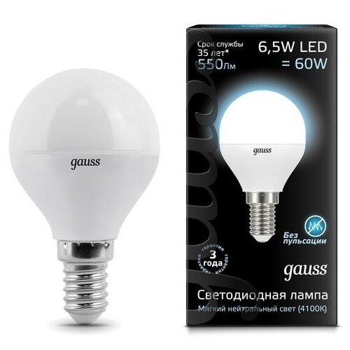 Лампа светодиодная gauss 105101207, E14, G45, 6.5Вт лампа светодиодная gauss 105101210 e14 g45 9 5вт