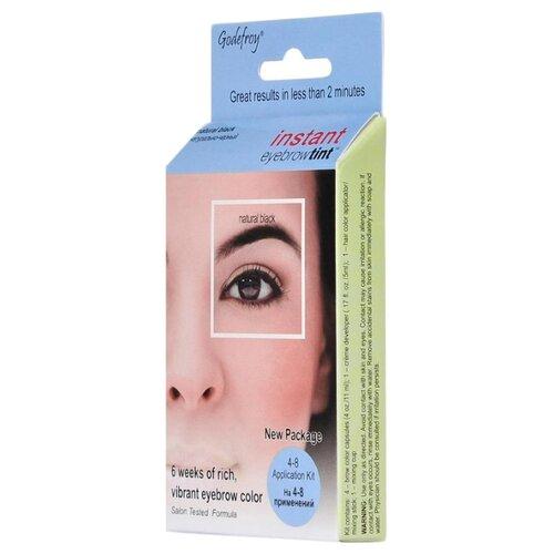 Godefroy Краска-хна синтетическая в капсулах для бровей Instant Eyebrow Tint, 4 штуки natural black godefroy синтетическая краска хна в капсулах для бровей черный l tint kit black 80 капсул