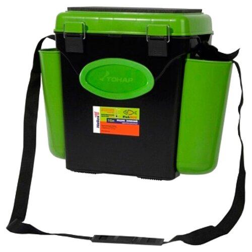 Ящик для рыбалки HELIOS FishBox односекционный (10л) 31х23х34.5 см зеленый/черный