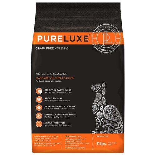 Корм для кошек PureLuxe Elite Nutrition for longhair cats with chicken & salmon 5 кг корм для собак pureluxe 0 4 кг elite nutrition for adult dogs with turkey