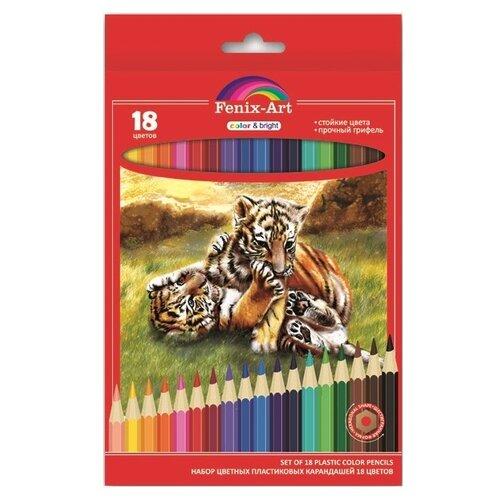 Фото - Fenix-Art Пластиковые цветные карандаши 18 цветов (40038) berlingo карандаши цветные пластиковые цирк 18 цветов cp 04812