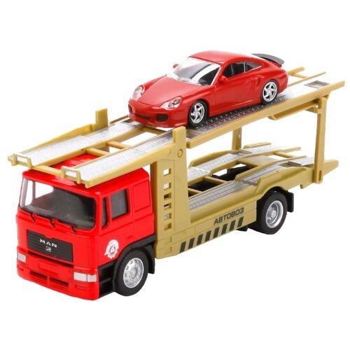 Купить Набор машин ТЕХНОПАРК U1401C-5 1:64 красный/желтый, Машинки и техника