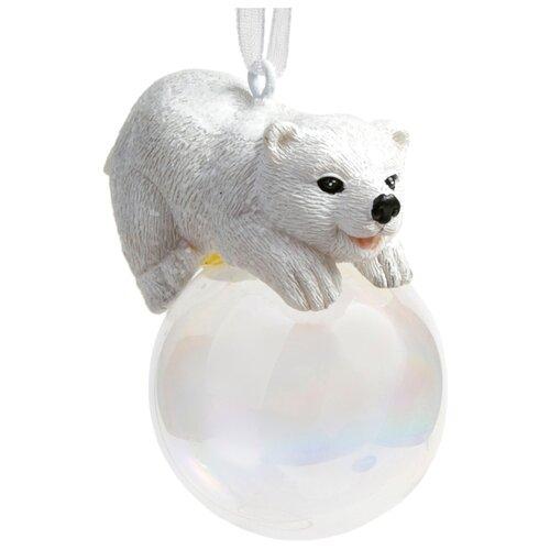 Елочная игрушка Magic Time Полярный мишка на шаре (78168) белый