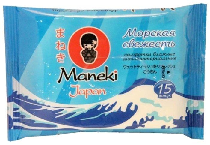 Салфетки влажные MANEKI Kaiteki с антибактериальным эффектом Морская свежесть