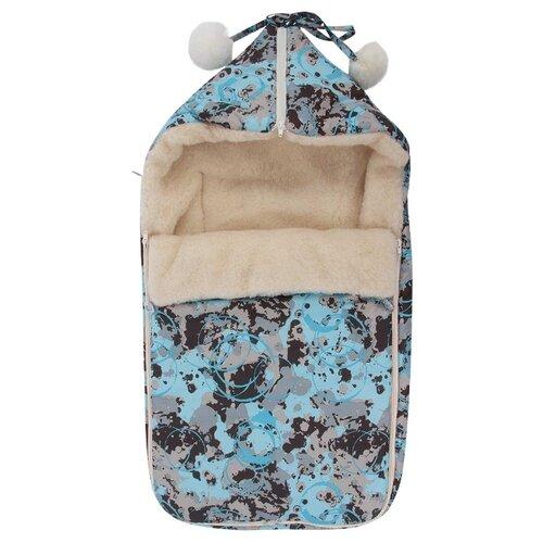 Конверт-мешок Leader Kids зимний меховой в коляску с помпонами Защита 84 см голубойКонверты и спальные мешки<br>