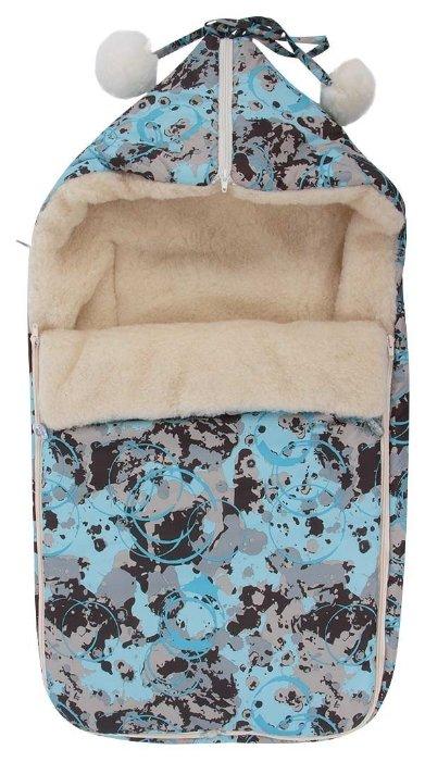 Конверт-мешок Leader Kids зимний меховой в коляску с помпонами Защита 84 см