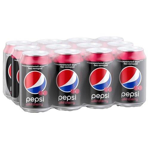 Газированный напиток Pepsi Wild Cherry, 0.33 л, 12 шт.Лимонады и газированные напитки<br>