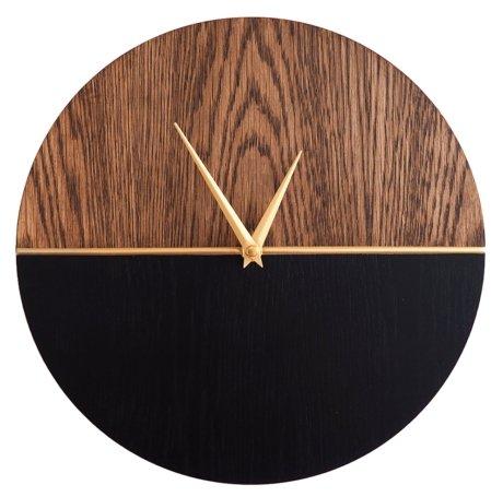 Часы настенные кварцевые Roomton MidCentury Black дерево/черный