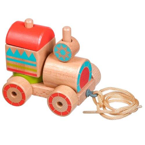 Купить Каталка-игрушка Lucy & Leo Паровозик-пирамидка (LL157) коричневый/красный/голубой, Каталки и качалки