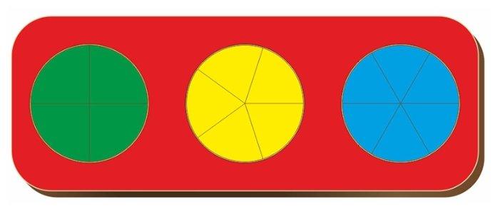 Рамка-вкладыш Woodland Дроби 3 круга уровень 1 (061102), 15 дет.