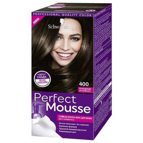 Schwarzkopf Perfect Mousse Стойкая краска-мусс для волос, 400, Холодный эспрессоКраска<br>