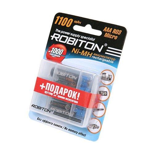 Купить Аккумулятор Ni-Mh 1100 мА·ч ROBITON AAA R03 Micro 1100 4 шт блистер