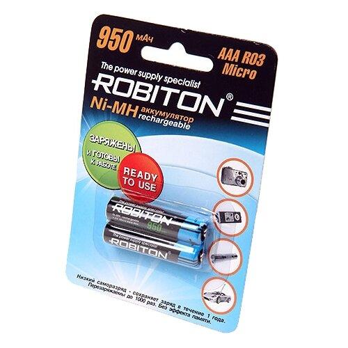 Купить Аккумулятор Ni-Mh 950 мА·ч ROBITON AAA R03 Micro 950 2 шт блистер