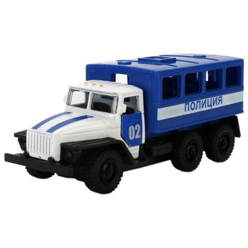 Фото - Грузовик ТЕХНОПАРК Урал 5557 Полиция (SB-16-51-A-WB) 12 см синий/белый технопарк машинка технопарк урал 5557 полиция 12 см