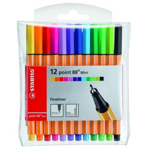 STABILO Набор капиллярных ручек point 88 Mini 12 цветов, 0.4 мм (688/12-1) stabilo stabilo набор капиллярных ручек point 88 mini 18 цветов