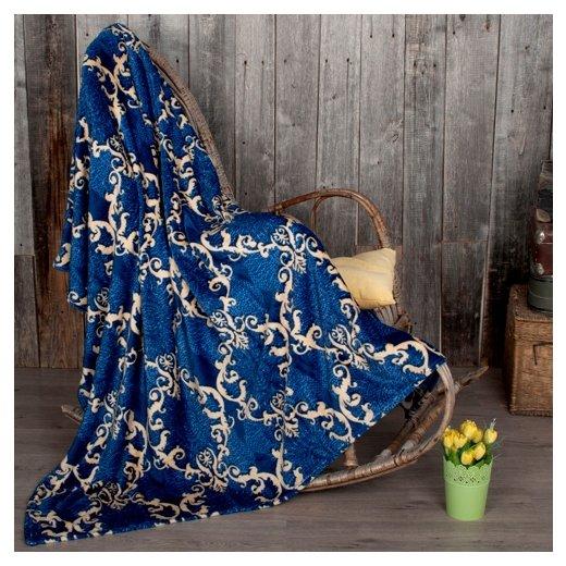 Плед Традиция Амели Анталия облегченный, 200 x 220 см синий/бежевый