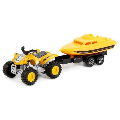 Купить Набор техники ТЕХНОПАРК с прицепом (66002-R) 17 см желтый, Машинки и техника