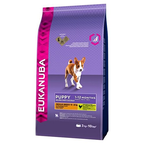 Корм для собак Eukanuba (3 кг) Puppy Dry Dog Food For Medium Breed ChickenКорма для собак<br>