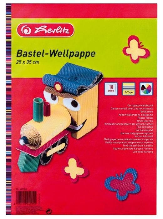 Цветной картон гофрированный Herlitz, 25x35 см, 10 л., 10 цв.