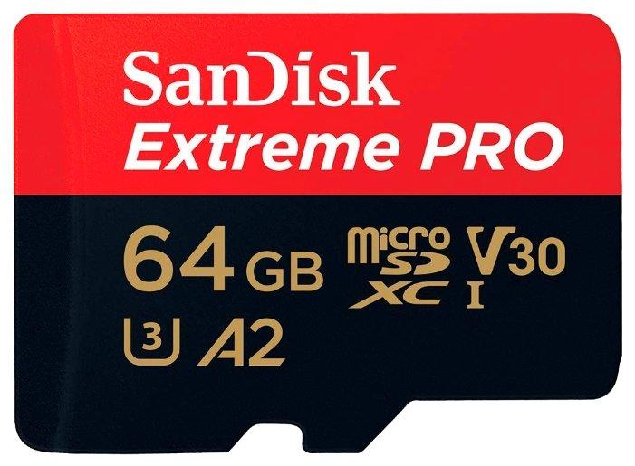 Карта памяти SanDisk Extreme Pro microSDXC Class 10 UHS Class 3 V30 A2 170MB/s + SD adapter