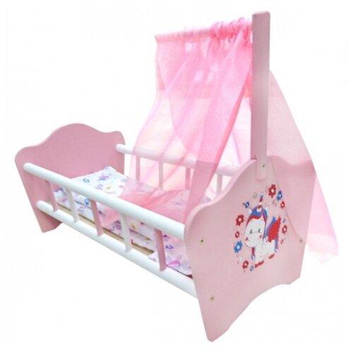 Купить Карапуз Кроватка для куклы Милый пони (RB-P-C) розовый/белый, Мебель для кукол