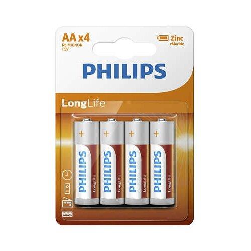 цена на Батарейка Philips LongLife AA 4 шт блистер
