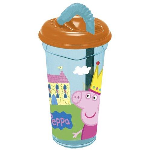 Stor Стакан пластиковый с соломинкой и крышкой прозрачный 400 мл Свинка Пеппа
