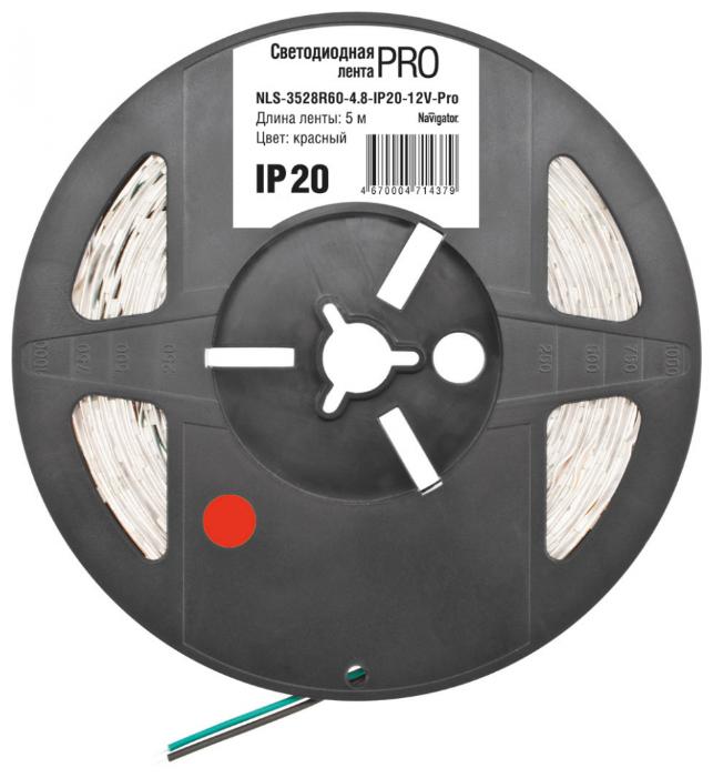 Светодиодная LED лента Navigator 5 метров 60LED/м 4.8W(Вт)/м красный цвет 12V IP20 71437 NLS-3528R60-4.8-IP20-12V-Pro R5