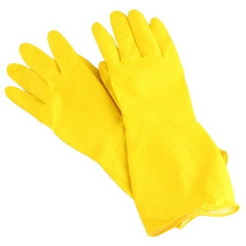 Перчатки Aviora хозяйственные Резиновые, 1 пара, размер XL, цвет желтыйПерчатки<br>