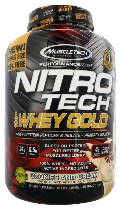 Протеин MuscleTech Nitro Tech 100% Whey Gold (2.51 кг)