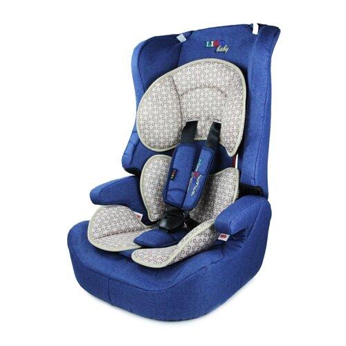 Автокресло группа 1/2/3 (9-36 кг) Liko Baby LB-513, синий/лен группа 1 2 3 от 9 до 36 кг actrum lb 513c