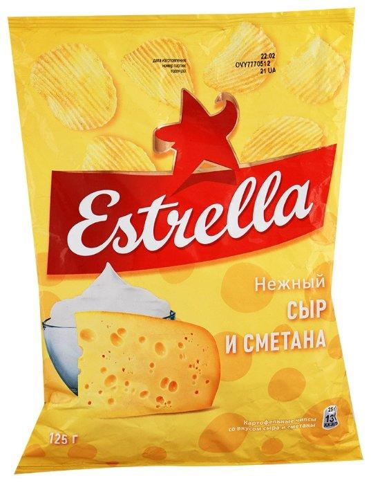 Чипсы ESTRELLA картофельные Нежный сыр и сметана рифленые
