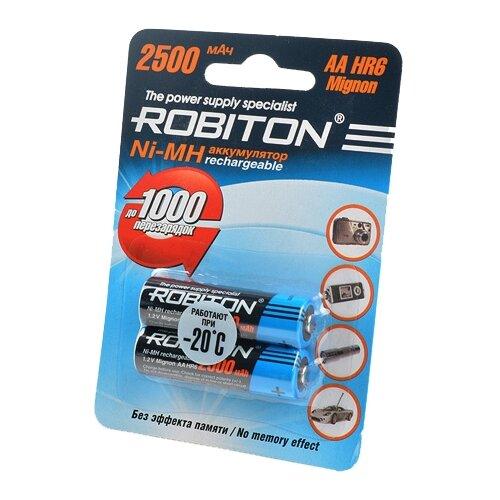 Аккумулятор Ni-Mh 2500 мА·ч ROBITON AA HR6 Mignon 2500 2 шт блистер аккумуляторы smartbuy sbbr 2a02bl2500 2500 mah aa 2 шт