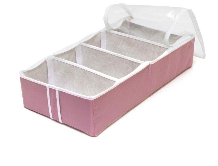 HOMSU Органайзер для обуви на 4 бокса Capri розовый/белый