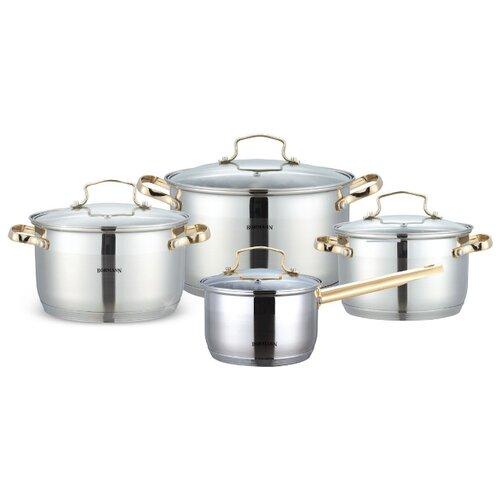 Набор посуды Bohmann 1908BH/BHG 8 пр. стальной с позолотойНаборы посуды для готовки<br>