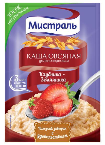 Овсяная каша цельнозерновая Мистраль Клубника-земляника, 40 г