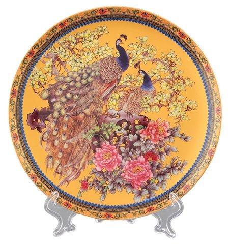 Elan gallery Тарелка декоративная Павлин золотой 18 см