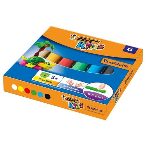 Купить Пластилин BIC Kids 6 цветов, 60 г (947712), Пластилин и масса для лепки