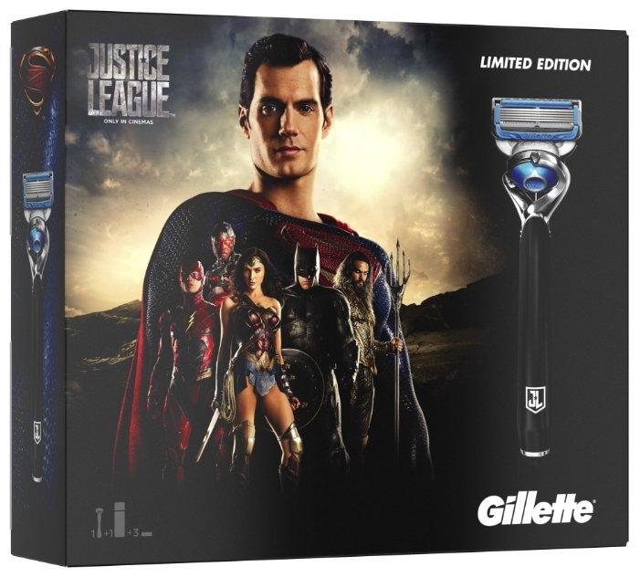 Набор Gillette Лига справедливости гель для бритья Fusion ProGlide Sensitive Active Sport 170 мл, бритвенный станок Fusion Proshield Chill Flexball