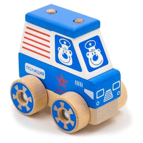 Купить Каталка-игрушка Alatoys Полицейская машина (ККМ04) голубой/белый/красный, Каталки и качалки