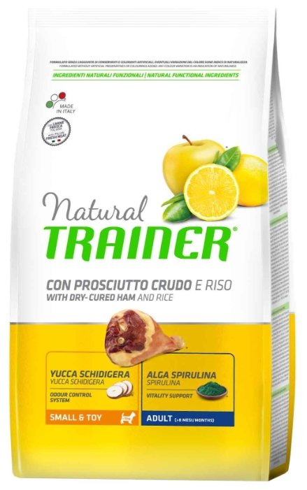 Корм для собак TRAINER Natural Adult Small&Toy Dry-Cured Ham and rice dry