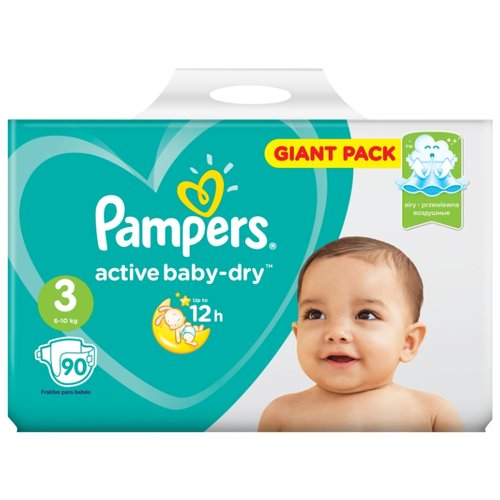 Pampers подгузники Active Baby-Dry 3 (6-10 кг) 90 шт. подгузники pampers active baby dry 5 11 16 кг 60 шт