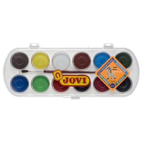 Купить JOVI Акварельные краски 12 цветов с кисточкой (830/12), Краски