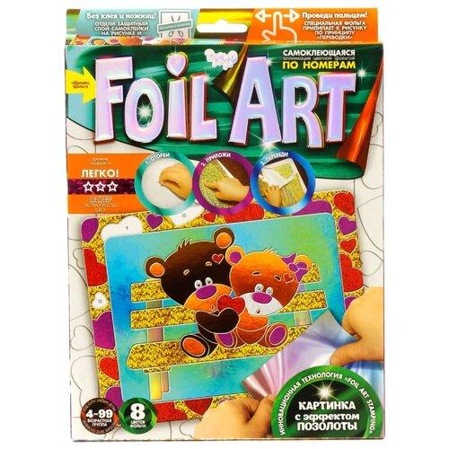Фото - Danko Toys Аппликация цветной фольгой Foil Art по номерам Медвежата (FAR-01-08) danko toys раскраска по номерам pencil by numbers девочка