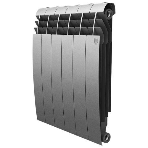 цена на Радиатор секционный биметаллический Royal Thermo BiLiner 500 x4 теплоотдача 444 Вт, 4 секций, подключение универсальное боковое Silver Satin