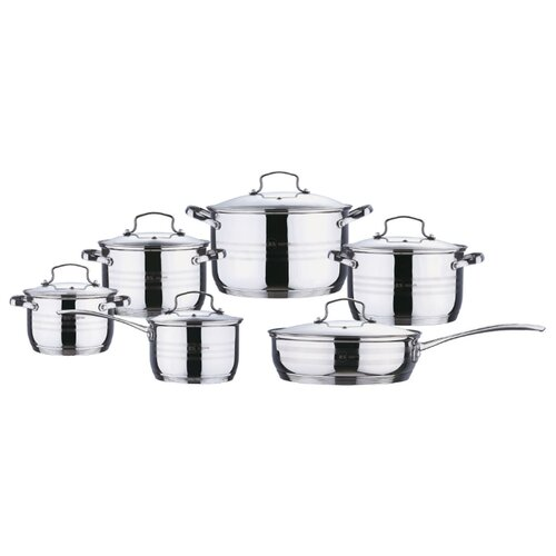 Набор посуды Rainstahl 1214-12RS\CW 12 пр. стальной набор посуды rainstahl с антипригарным покрытием 12 предметов цвет белый 1855 12rs cw мrb