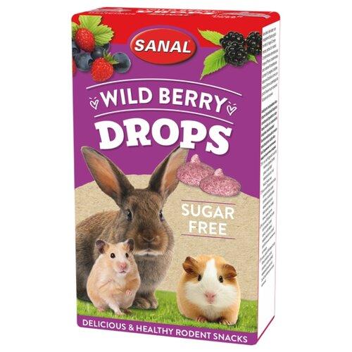 Лакомство для кроликов, грызунов SANAL Wild Berry Drops sugar free с лесными ягодами, без сахара 45 г