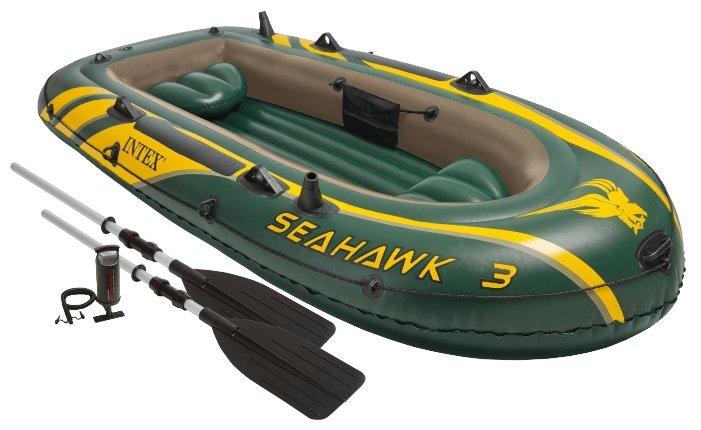 Лодка надувная Intex Seahawk 200+весла и насос, 236х114х41 см, артикул 68347